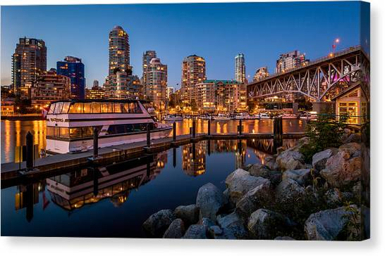 Vancouver Skyline Canvas Print - False Creek From Granville Island by Alexis Birkill