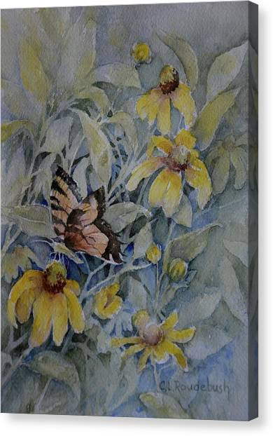False Sunflower And Butterfly Canvas Print