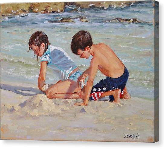 Boy And Girl Canvas Print - Family Day by Laura Lee Zanghetti
