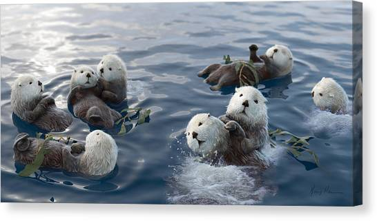 Otters Canvas Print - Family Fun by Gary Hanna