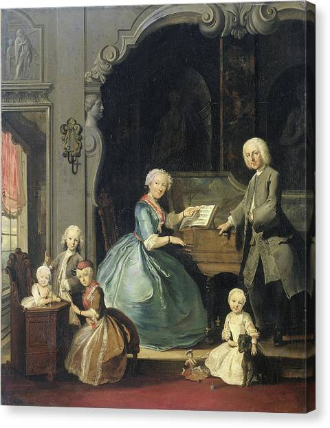 Harpsichords Canvas Print - Family Group Near A Harpsichord, Cornelis Troost by Litz Collection
