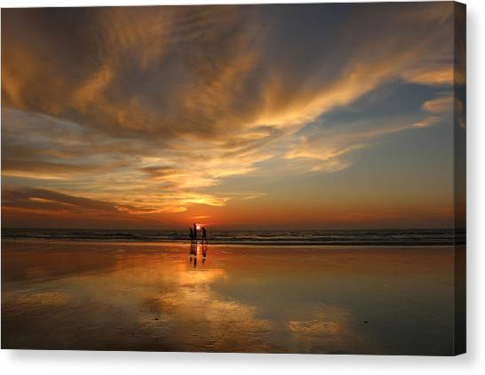 Family Reflections At Sunset - 2 Canvas Print