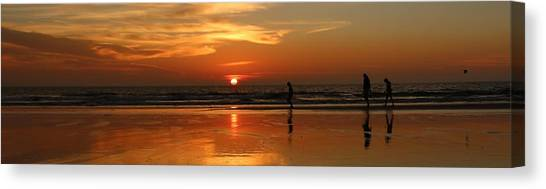 Family Reflections At Sunset - 4 Canvas Print