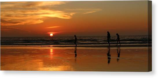 Family Reflections At Sunset - 5 Canvas Print