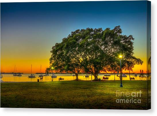 Park Benches Canvas Print - Family Sunset by Marvin Spates