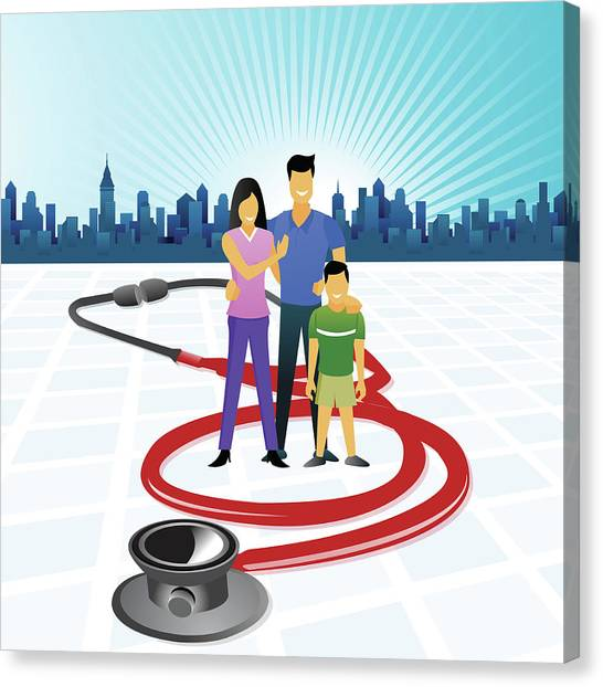 Health Insurance Canvas Print - Family Surrounded With A Stethoscope by Fanatic Studio / Science Photo Library
