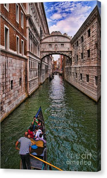 Family Trip Under The Bridge Of Sighs Canvas Print