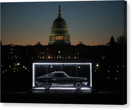 Famous Bullitt Mustang On Display On Canvas Print by Mark Wilson
