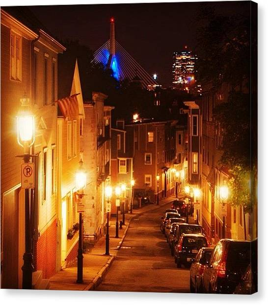 Massachusetts Canvas Print - Famous Charlestown Street From The by Joann Vitali
