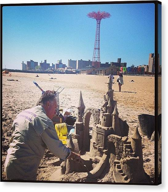 Sculptors Canvas Print - #famous #mattlong #sandsculptor by Alex Mamutin