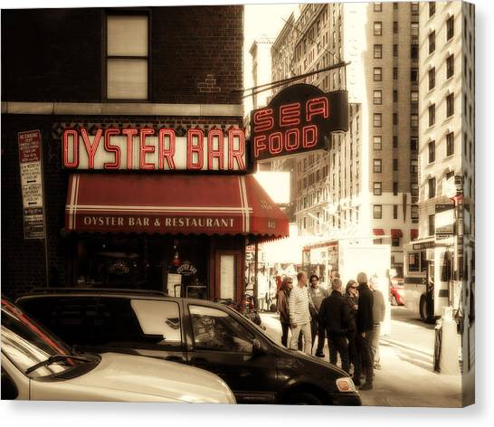 Oysters Canvas Print - Famous Oyster Bar by Jon Woodhams