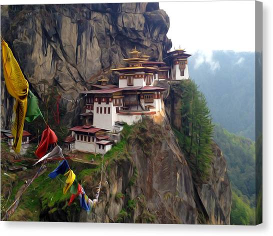 Famous Tigers Nest Monastery Of Bhutan 10 Canvas Print
