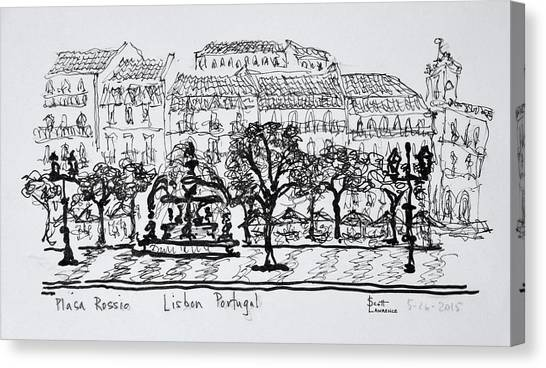 Scotty Canvas Print - Famous Town Square Placa Rossio by Richard Lawrence