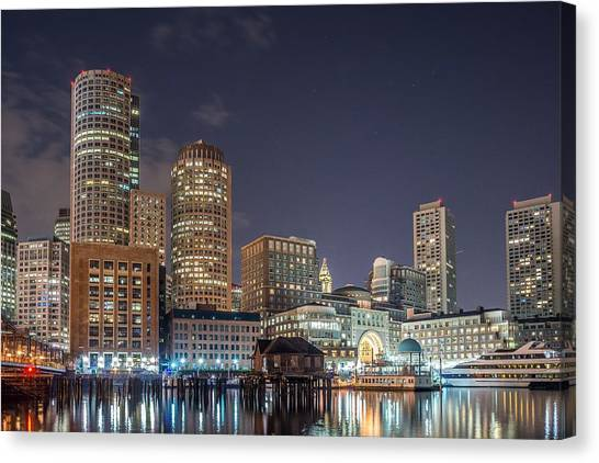 Fan Pier Boston Ma On A Hot July Night Canvas Print