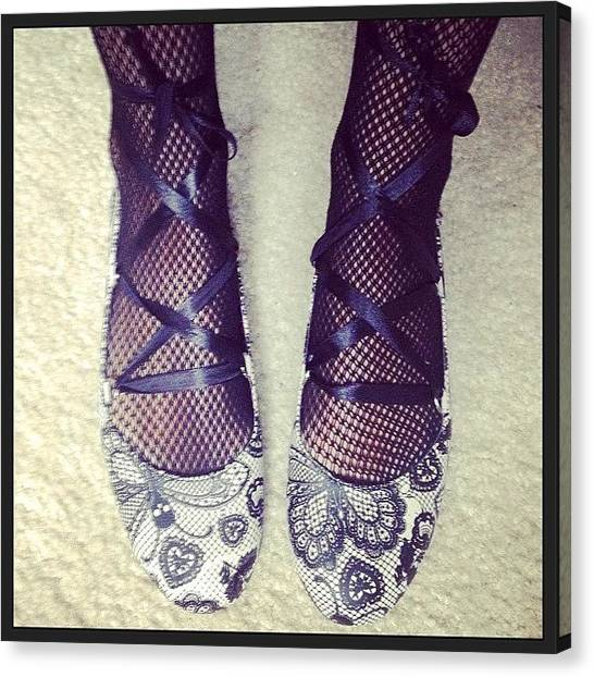 Ballet Shoes Canvas Print - Fancy Footwork. 💀🔮💜 by Heather Murphy