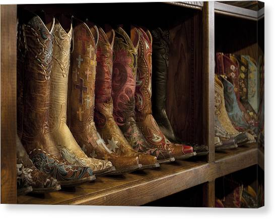 Cowboy Boots Canvas Print - Fancy Western Wear Boots by David and Carol Kelly