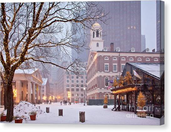 United States Of America Canvas Print - Faneuil Hall In Snow by Susan Cole Kelly