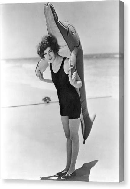 Inflatable Canvas Print - Fanny Brice And Beach Toy by Underwood Archives