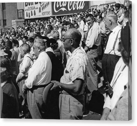 Yankee Stadium Canvas Print - Fans At Yankee Stadium Stand For The National Anthem At The Star by Underwood Archives