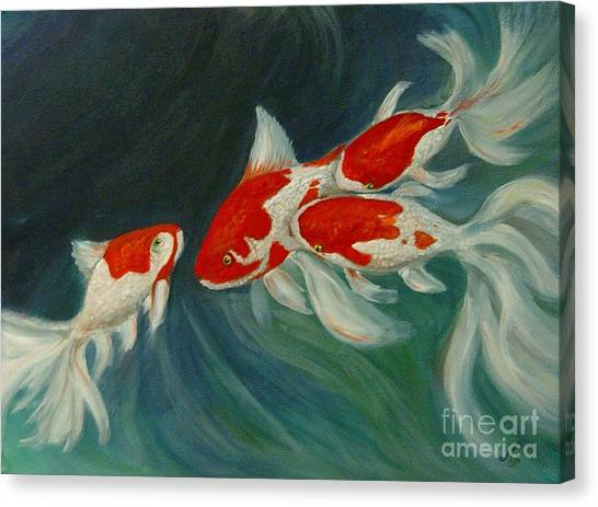 Fantail Koi Canvas Print by Nancy Bradley