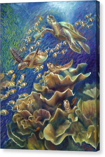 Fantastic Journey - Turtles Canvas Print by Nancy Tilles