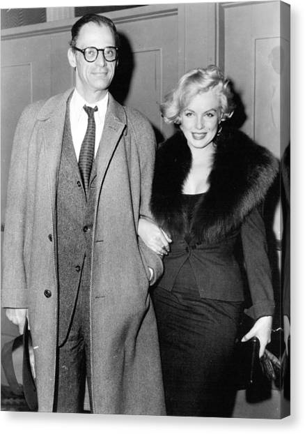 Marilyn Monroe Canvas Print - Marilyn Monroe And Arthur Miller by Retro Images Archive