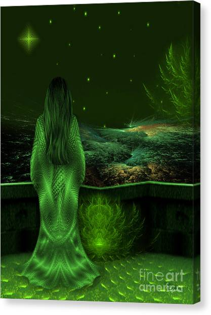 Fantasy Art - Wishing Upon A Star In A Green Night  By Rgiada  Canvas Print