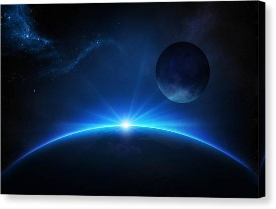 Sunset Horizon Canvas Print - Fantasy Earth And Moon With Sunrise by Johan Swanepoel