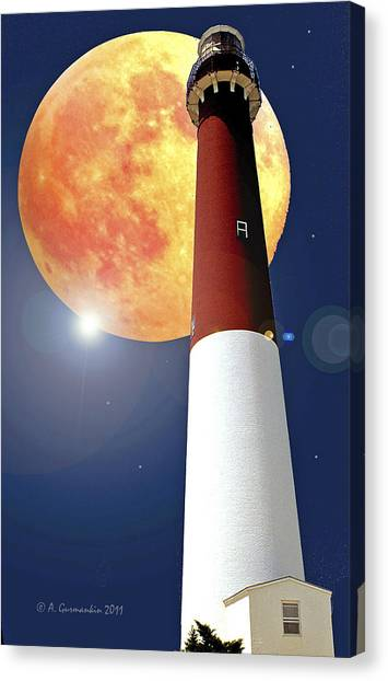 Fantasy Lighthouse And Full Moon Poster Image Canvas Print