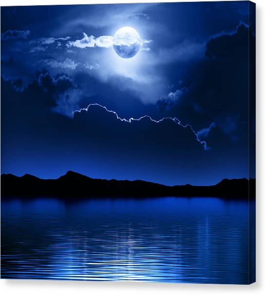 Cloudy Canvas Print - Fantasy Moon And Clouds Over Water by Johan Swanepoel
