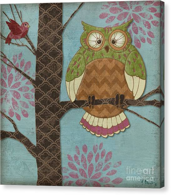 Owls Canvas Print - Fantasy Owls I by Paul Brent