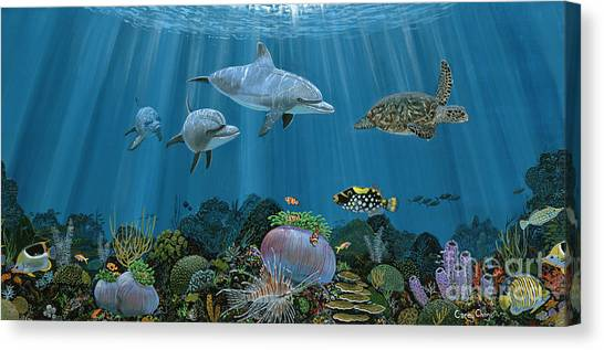 Coral Reefs Canvas Print - Fantasy Reef Re0020 by Carey Chen