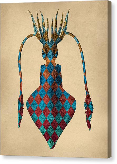 Squids Canvas Print - Fantasy Squid Vintage Illustration by Flo Karp