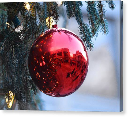 Faneuil Hall Christmas Tree Ornament Canvas Print
