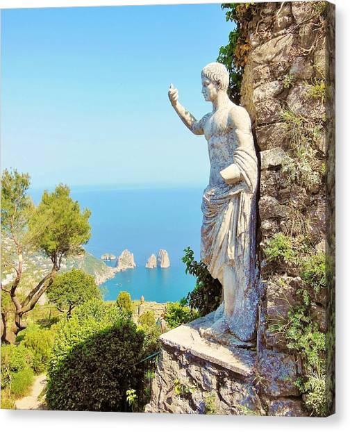 Mountain Cliffs Canvas Print - Faraglioni Rocks From Mt Solaro Capri by Marilyn Dunlap