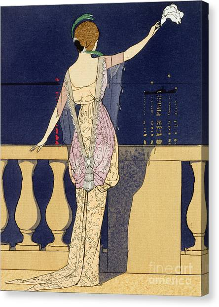 Worried Canvas Print - Farewell At Night by Georges Barbier