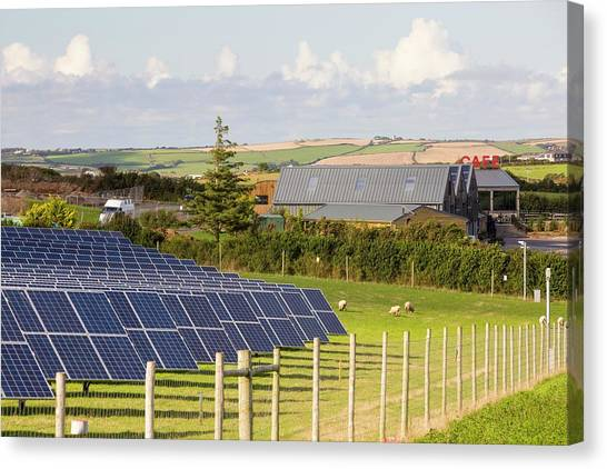Solar Farms Canvas Print - Farm Based Solar Plant by Ashley Cooper/science Photo Library