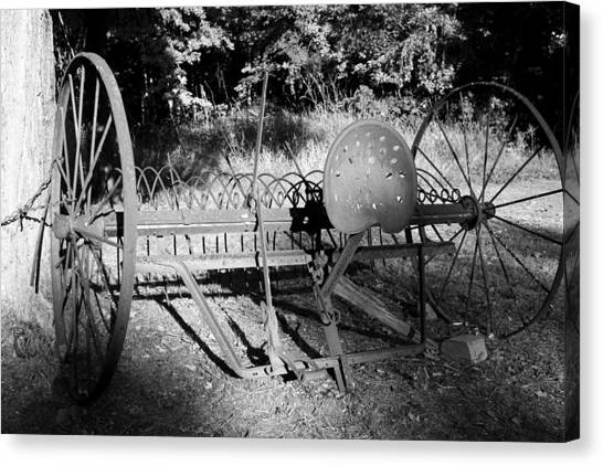 Farm Equipment Bw Canvas Print by Mary Bedy