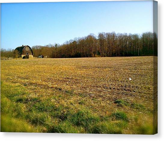 Farm Field With Old Barn Canvas Print
