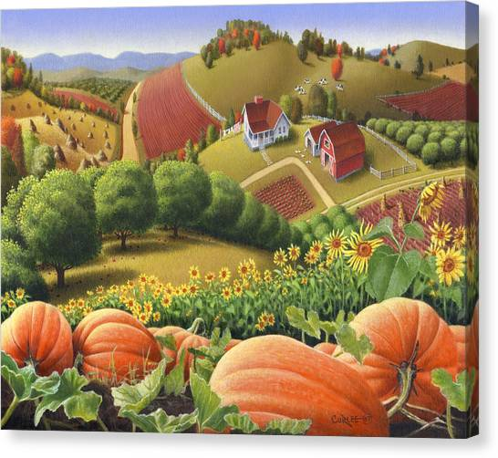Folk Art Canvas Print - Farm Landscape - Autumn Rural Country Pumpkins Folk Art - Appalachian Americana - Fall Pumpkin Patch by Walt Curlee