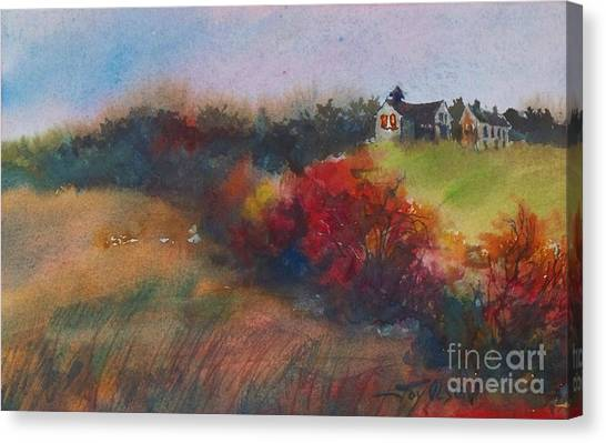 Farm On The Hill At Sunset Canvas Print