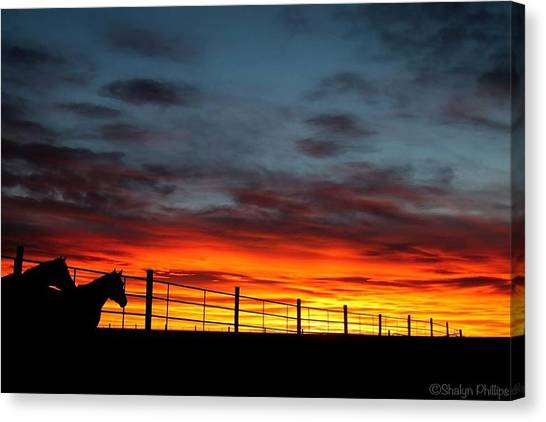 Horse Farms Canvas Print - Farm Sunset by Shalyn Phillips