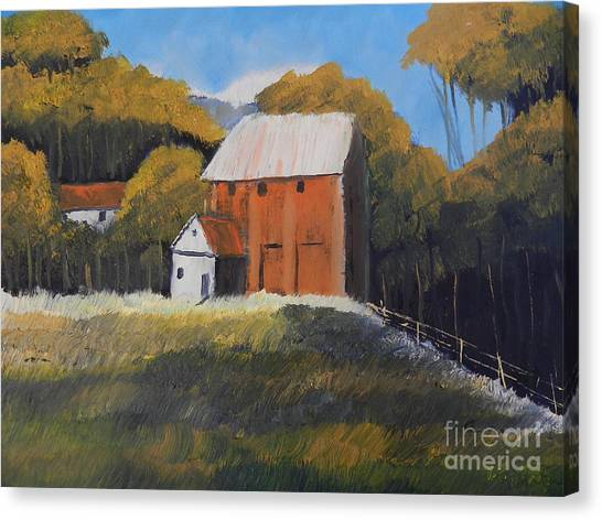 Farm With Red Barn Canvas Print