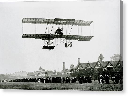 Biplane Canvas Print - Farman Aircraft Used For The 1st Ever Night Flight by Science Photo Library