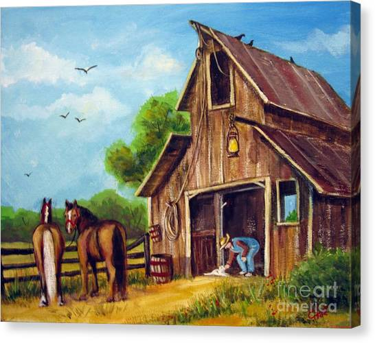 Farmer Scene Canvas Print