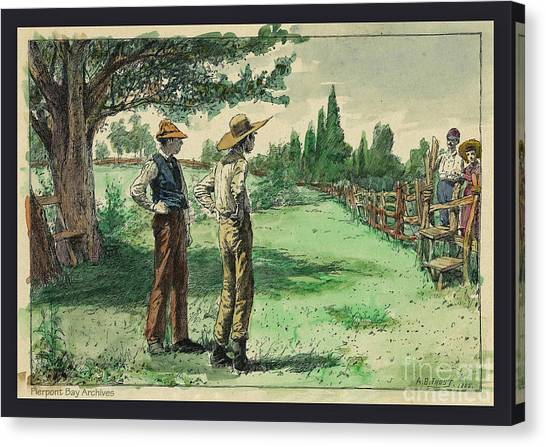 Fashion Plate Canvas Print - Farmers In Pasture With Trees 1885 Hand Tinted Etching  by Pierpont Bay Archives