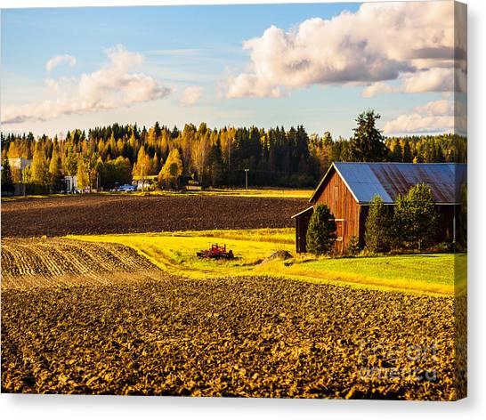 Farmer's Sunny Autumn Day Canvas Print