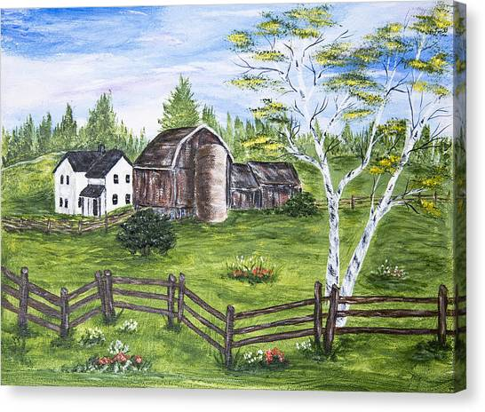 Farmhouse And Barns Canvas Print by Carole F Perrine