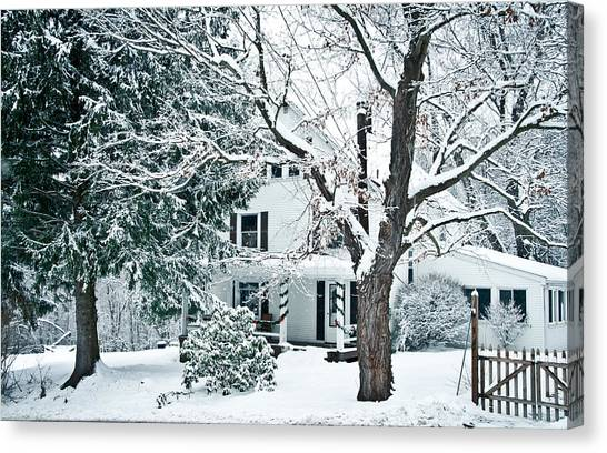 Farmhouse In Snow Canvas Print by Nickaleen Neff