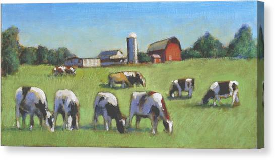 Farming In The Dell Canvas Print by David Zimmerman